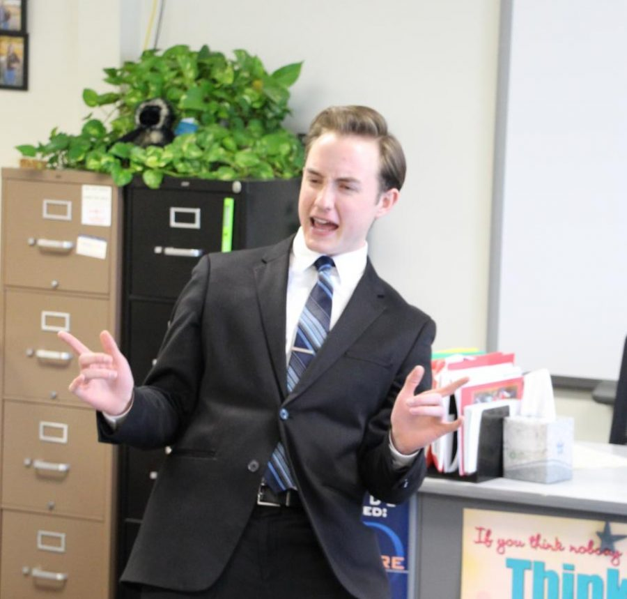 Senior+Jarod+Cernousek+performs+his+Serious+Prose+speech+at+the+Voice+of+the+Plains+meet+in+Holdrege.