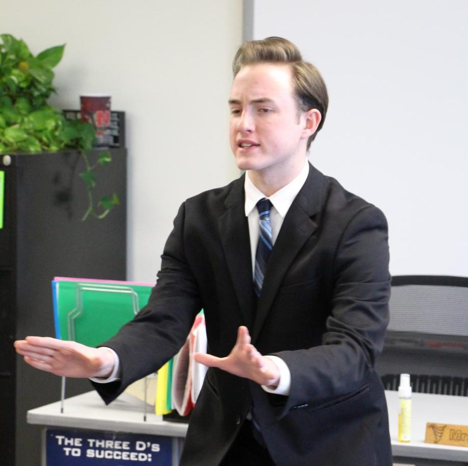 Senior Jarod Cernousek competes in the Serious Prose category during the Holdrege Speech Meet early this year.