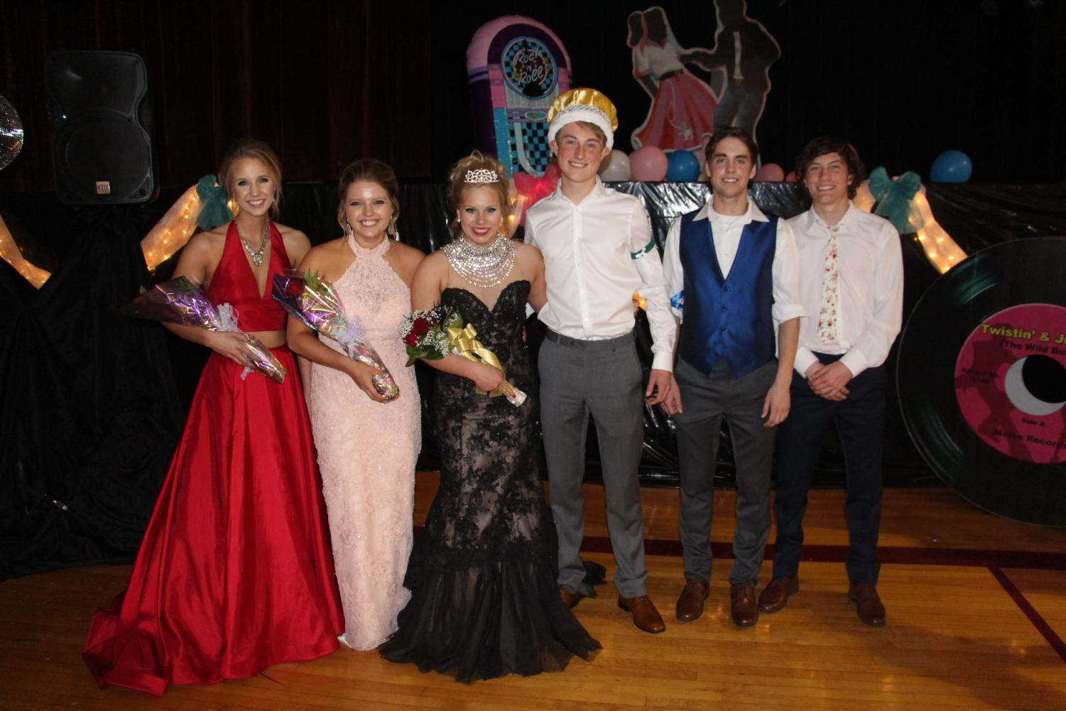 Prom Royalty: Grace Townsend, Sydney Nelson, Queen Natalie Janssen, King Spencer Anderson, Trevor Matousek, Zac Hurlbert