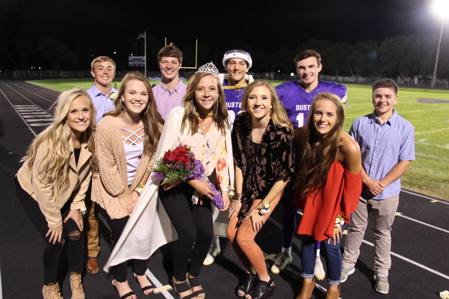 Homecoming Royalty: Front Row; Meredith Christensen, Toni Clayton, Queen Kelsey Belgum, Alexa Berney and Addison Johnson. Back Row: Matt Anderson, Dantley Edgren, King Aaron Drews, Drake Johnson, and Spencer Knuth.