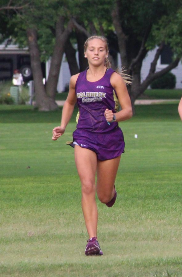Senior Sydney Reed competes in the Holdrege time trials earlier this season.