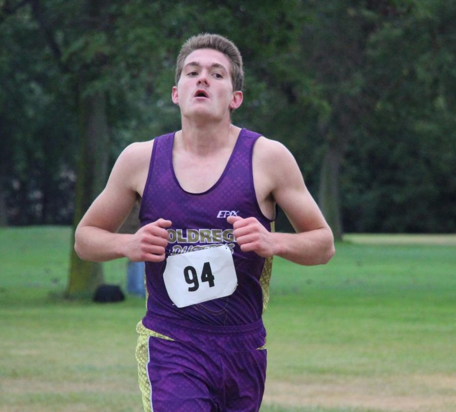 Senior Tyler Peterson strives for the finish line during the Central 10 Conference Meet.