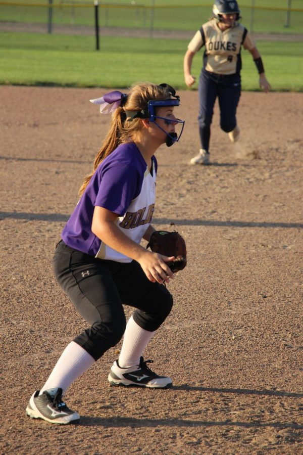 Playing third base, Jenessa Landin prepares for a ground ball during a game versus York.