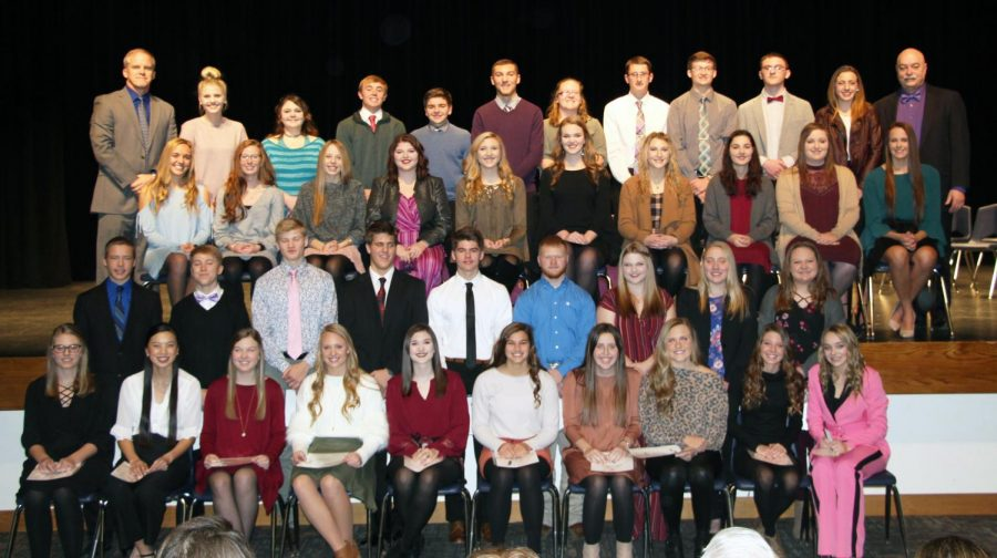 HHS National Honor Society Members (New members are in the two front rows): Front Row: Hadley Milks, Emily Gustafson, Megan Urbom, Kloey Kirwan, Natalie Reed, Ryan Melroy, Jill Gillespie, Kenzie Hurlbert, Carly Janssen. Second Row: Carter Newth, Ethan Twohig, Dylan Bauman, Zachary Reed, Jackson Hilyard, Carson Fritson, Kamryn Lynch, Reagan Boyken, Madelyn Moore.Third Row: Sydney Reed, Keara Miller, Jenna Karn, Jenna Schroder, Alexa Berney, Antonia Clayton, Amanda Envick, Elizabeth Drews, Lindsay Veal, Addison Johnson. Fourth Row: Advisor Mr.  Buck, Alivia Nelson, Hannah Hofaker, Matthew Anderson, Spencer Knuth, Aaron Drews, Jessica Pearson, Kaden Erickson, Nathan Birtell, Ryan Salisbury, Cassidy Newth, Advisor Mr. Brestel.
