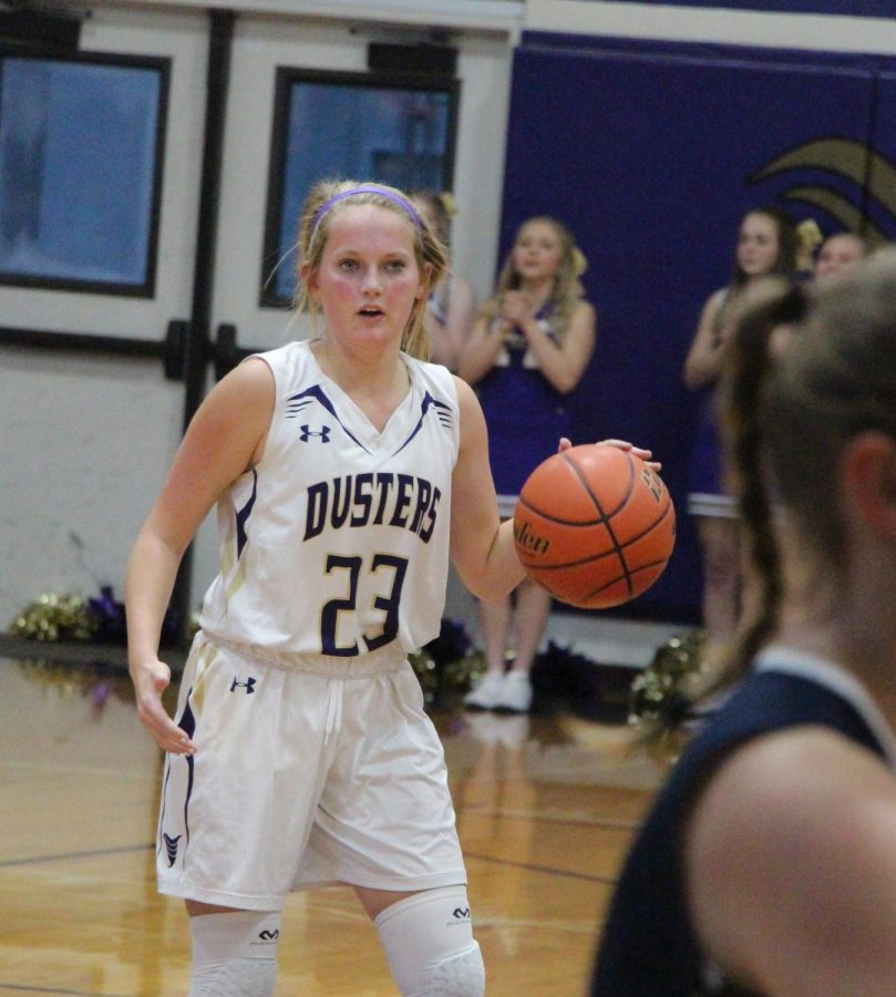 Junior Jirsie Klein sets up the offense during a recent home game.