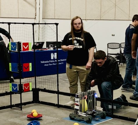 Daniel deFreese and Ryan Salisbury prepare to compete in a recent Robotics Meet.